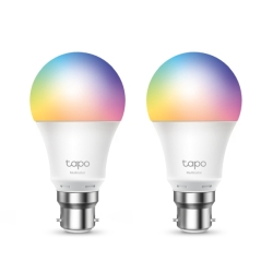 TP-LINK Tapo L530B 2-Pack Wi-Fi LED Smart Multicolour Light Bulb, Dimmable, AppVoice Control, Bayonet Fitting