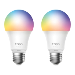 TP-LINK Tapo L530E 2-Pack Wi-Fi LED Smart Multicolour Light Bulb, Dimmable, AppVoice Control, Screw Fitting