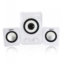 Approx APPSP21MW 2.1 Multimedia Mini Speakers, 10W RMS, White, Retail