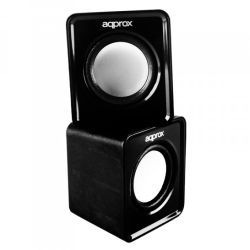 Approx APPSPX1B 2.0 Mini Stereo Speakers, 5W RMS, Black