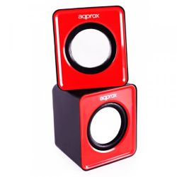Approx APPSPX1R 2.0 Mini Stereo Speakers, 5W RMS, Red