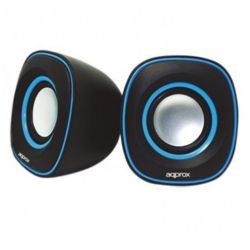 Approx APPSPX2BL 2.0 Stereo Speakers, 6W RMS, BlackBlue