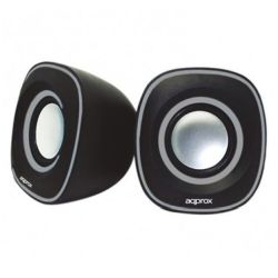Approx APPSPA01 2.0 Stereo Speakers, 6W RMS, BlackGrey