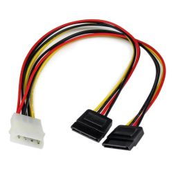 Startech LP4 to 2 x SATA Internal Power Y Cable Adapter, 30cm